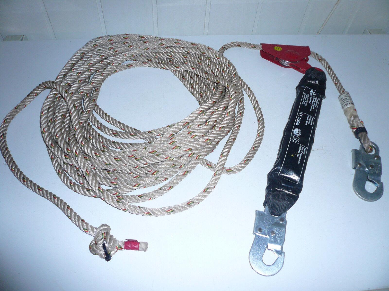 Halteseil für Hof und Garten,20 Meter lang,12 mm Durchmesser mit Bandfalldämpfer