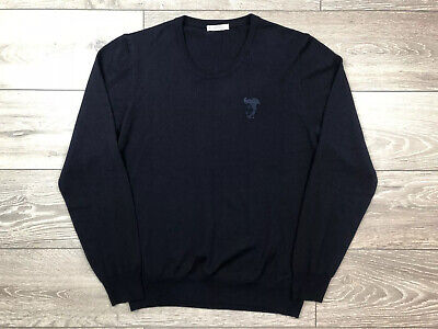 Versace Crewneck Dark Blue Medusa Head Wool Jumper Size XL RRP: £159.99