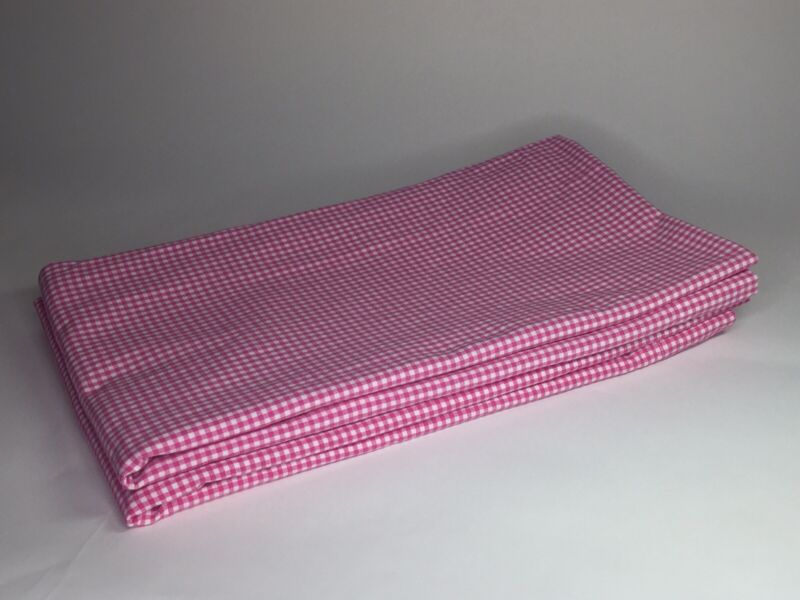 Pottery Barn Kids 2 Pink White Gingham Check 44x84 Rod Pole Pocket Curtain Panel