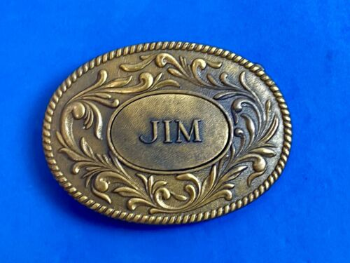 Vintage 1977 western name JIM flower swirl belt buckle by The Kinney Co.