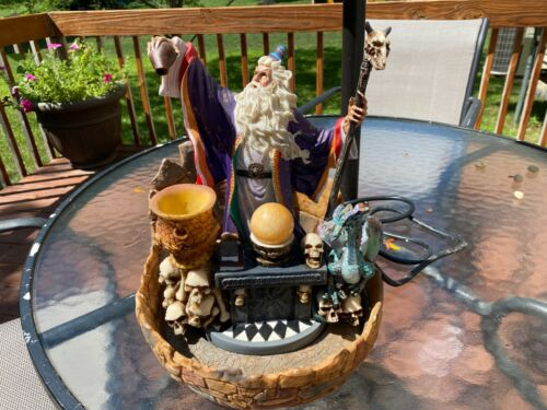 Rare Vintage Spencer Gifts Wizard Altar Fountain w/ Crystal Ball & Skulls