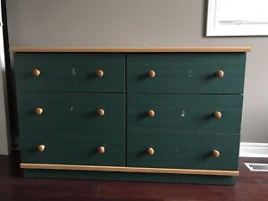Brown and green wooden 6 dresser