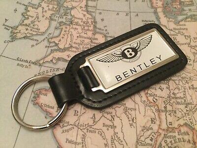 Bentley Blanco Calidad Piel Auténtica Negro Llavero Alargado
