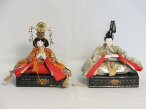 JAPANESE ANTIQUE HINO HINA FIGURES: Emperor & Empress  Kyoto