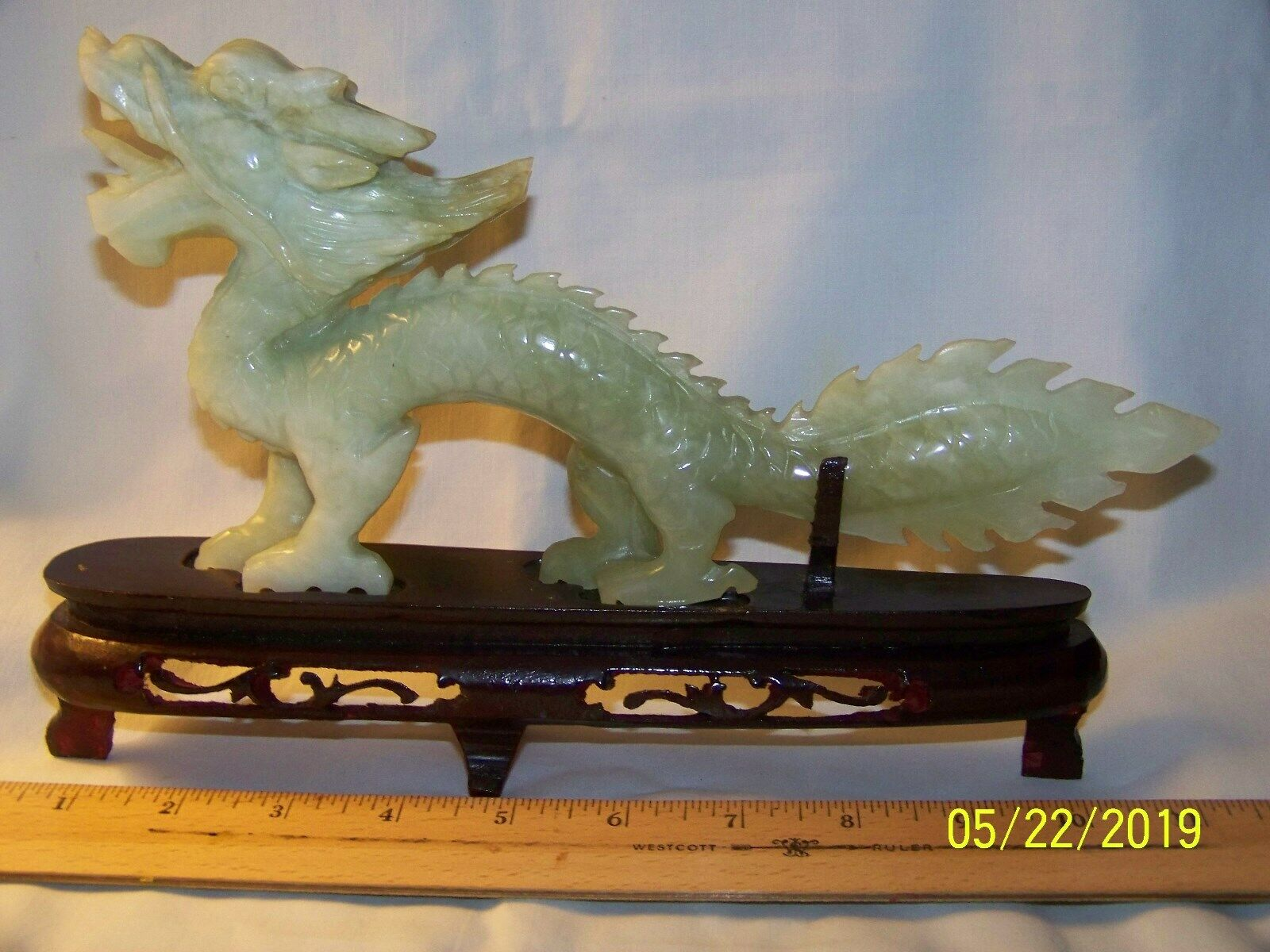 RARE HAND CARVED LIGHT GREEN CHINESE JADE DRAGON 10 LONG 5 HIGH ALMOST 1 WIDE