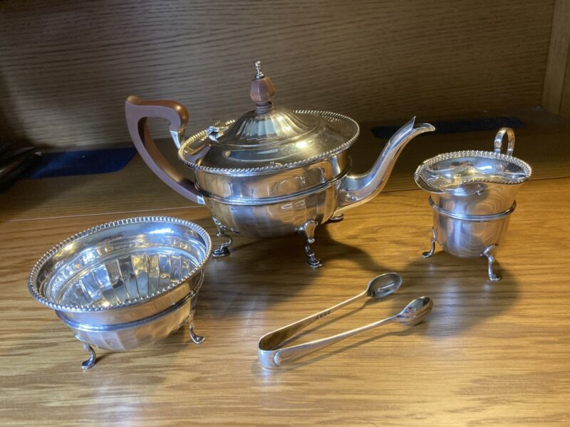 English Sterling Silver 925 Teaset Teapot Birmingham 524 Grams Not Scrap