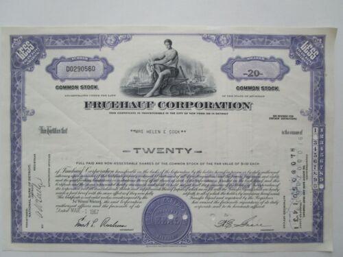 Classic 1967 FRUEHAUF Stock Certificate. SEMI TRAILER MFGR 1960s