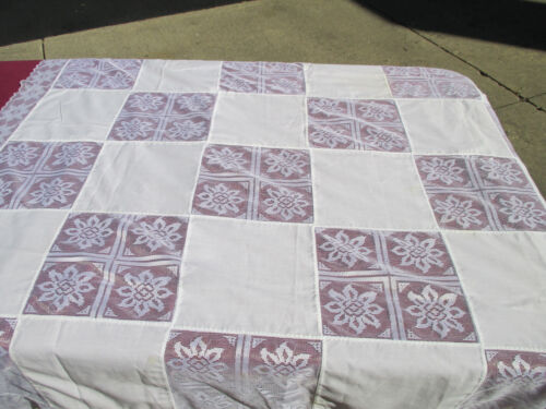 "Tablecloth Lace Patchwork White Vtg Christmas Poinsettia Holiday 49"" x 50"""