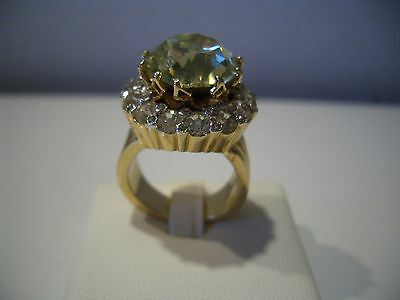 ESTATE SIGNED NETTIE ROSENSTEIN LARGE GOLD TONE WITH RHINESTONES  RING SZ 8