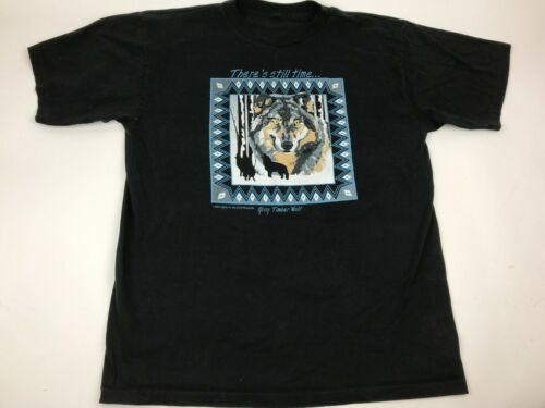 Vtg 90s GRAY TIMBER WOLF Rescue Guire XL Still time Southwestern 1994 Art USA SS