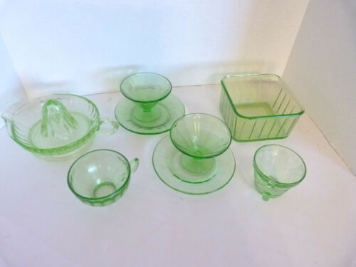 Antique Uranium/Depression/Vaseline ~ Green Lot of 8 W/ rare citrus augur