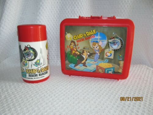DISNEY CHIP-N-DALE RESCUE RANGERS ALADDIN PLASTIC RED LUNCH BOX WITH THERMOS