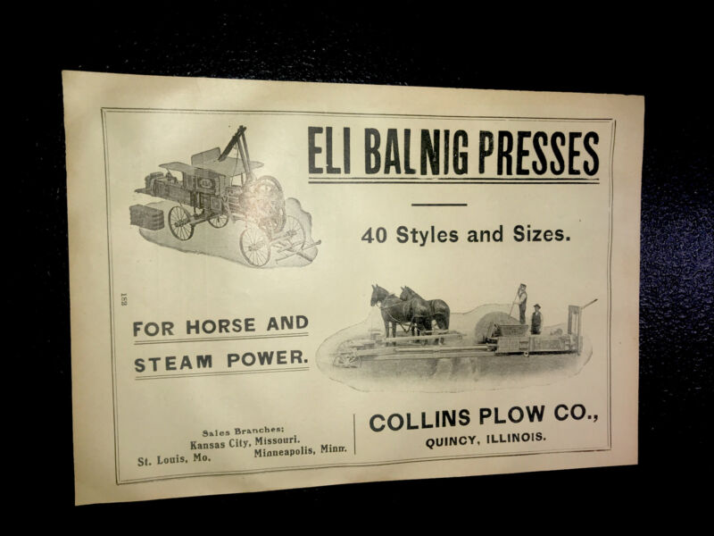 1908 Collins Plow Co. - Eli Balnig Press Farm Advertising - Quincy - Illinois