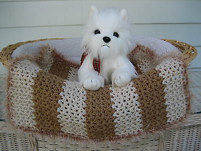 Fancy Dog Cat Bed Blanket Camel and Cream Stripe w Camel and Cream Faux Fur Trim