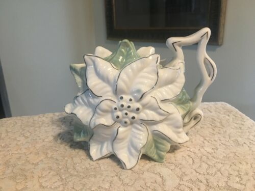 VINTAGE WHITE POINSETTIA CERAMIC TEAPOT WITH GREEN LEAVES & SILVER ACCENTS