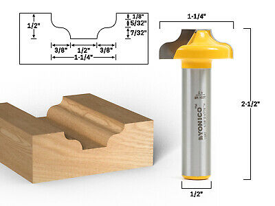 Traditional Ogee Cnc Cabinet Door Rail Stile Router Bit - 12 Shank - Yonico