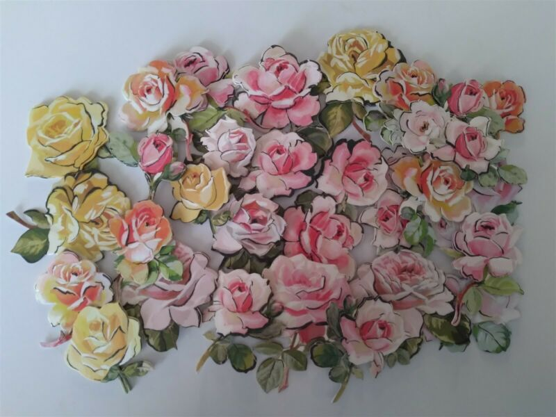 Anna Griffin Mascara Rose Stickers Card Making Embellishments Yellow Pink 30 pc