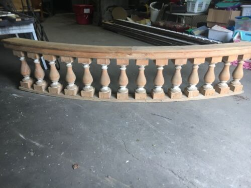 "c1890 curved porch balustrade 10' x 25"" x 8.5"" HUGE BEEFY spindle 19.5"" x 5.5"""