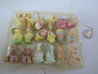 18 pc. Miniature Easter - Spring Ornaments, Bunnies, Chicks, Eggs & More, NIB ()
