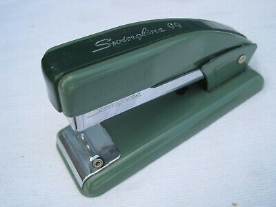 Vintage Heavy Duty Small Stapler Swingline 99. Jade Green 2-tone. Mcm Office.usa