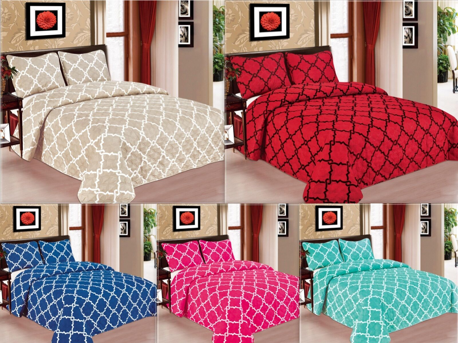 Geometric 3-PC Quilted Bedspread Bed cover Coverlet Many Col