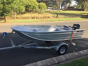 Boat tinnie trailer and motor Minto Campbelltown Area Preview