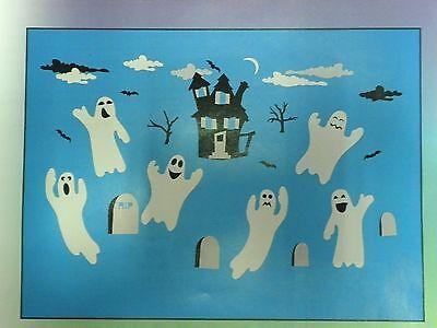 Halloween Fall Decoration Window Clings Boooooville Ghosts 7 to 9 inches  61 pcs (Halloween Windows 7)