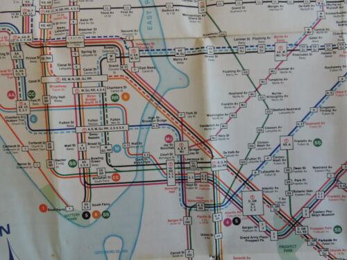 Orig 1968 New York City NYC Subway EL Transit Train Map