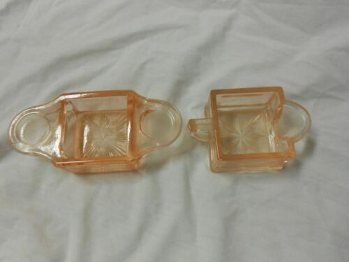 WESTMORELAND PINK DEPRESSION GLASS CREAMER SUGAR TRAY BREAKFAST SET