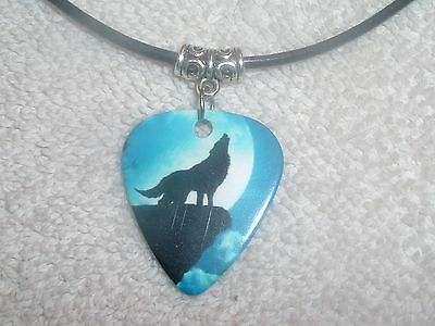 Coyote Howling Moon Guitar Pick Necklace OR Belly Ring Jewelry Your Choice