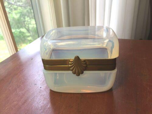 Antique Signed French  OPALINE Art Glass Casket Trinket Box, Bronze Mounts