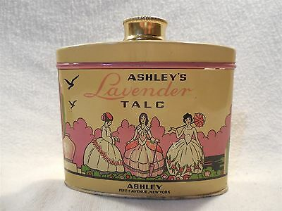 Vintage Ashleys Lavender Talc Powder 4 1/2 Oz Tin Can Fifth Avenue New York Full