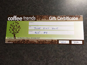 Coffee trends Kingston gift certificate
