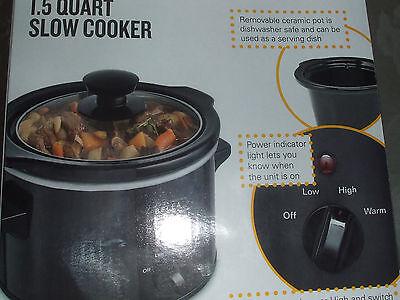 Slow Cooker Bella 1.5 Quart Crockpot Glass Lid Temperature S