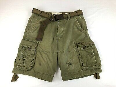Vintage Abercrombie Fitch AF Heavy Cargo Shorts Belted Drawstring Green 32 (34)