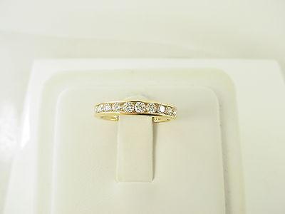 Estate 14k Yellow Gold Round Brilliant Diamond Channel Set Wedding Band Ring 1/2