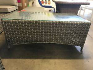 Bergamo Coffee Table in Synthetic Coco Shell Weave with Glass Top Loganholme Logan Area Preview