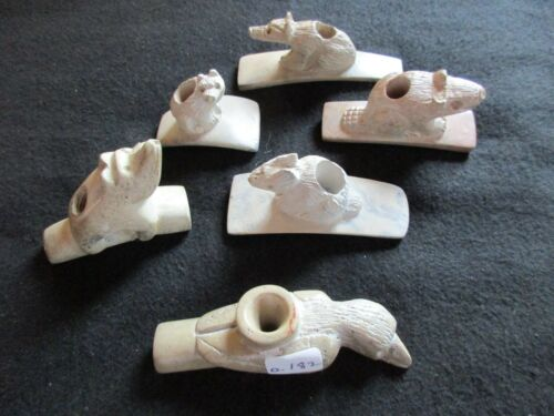 NATIVE AMERICAN CLAY PIPE ANIMAL EFFIGY GROUP, COLLECTOR