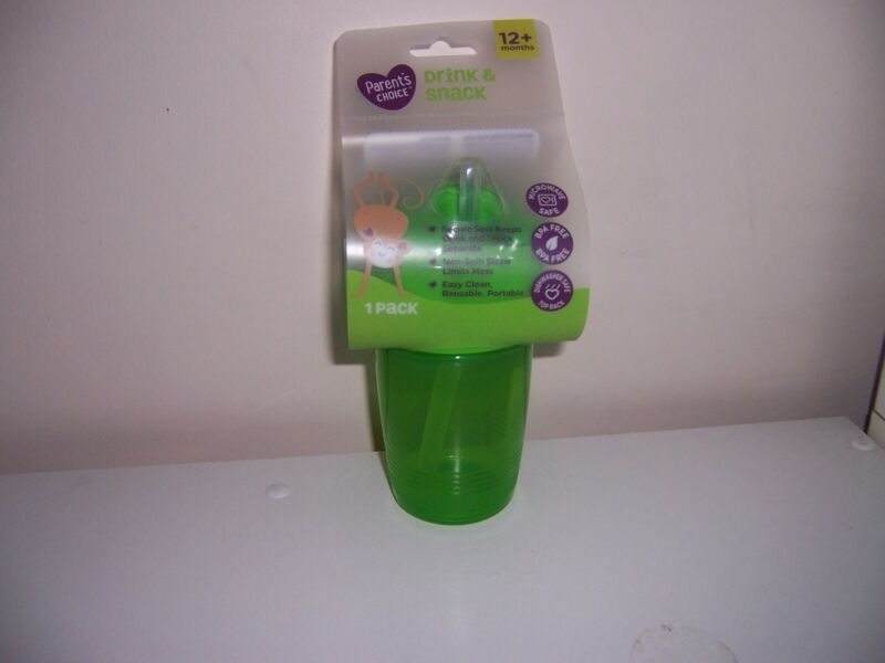 Parents choice drink and snack sippy cup new green