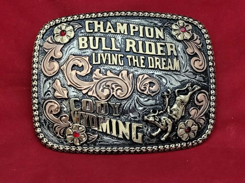 BULL RIDING CHAMPION RODEO TROPHY BELT BUCKLE☆CODY WYOMING☆RARE☆VINTAGE☆91