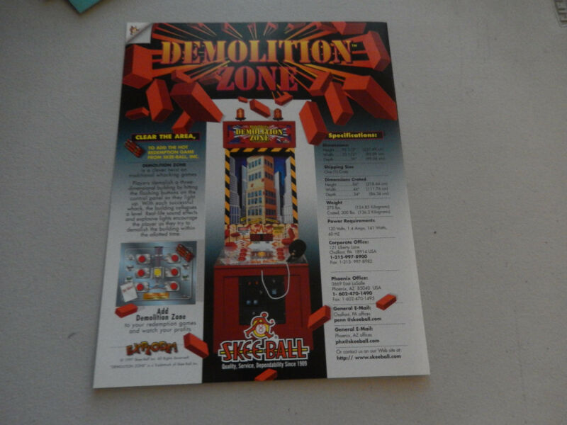 SKEE BALL  DEMOLITION ZONE    FLYER     arcade game ad