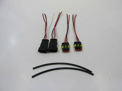 4 pc kit 3 pin way car waterproof electrical connectors plug with wire