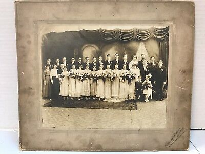 Antique Photo 1920's? Large Wedding Party photo by A. Virkshus, E. Chicago, IN - Parties In 1920s