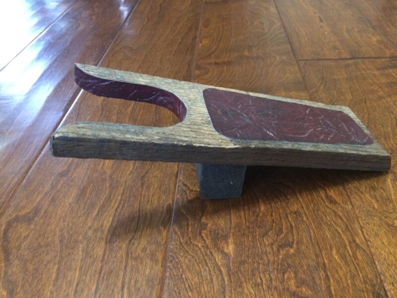 Boot / Shoe Jack Puller Remover Solid Wood Rustic Farmhouse Maroon Leather patch