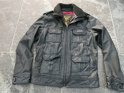 SUPERDRY BLACK LEATHER JACKET SIZE M VERY GOOD CONDITION!!!!!!