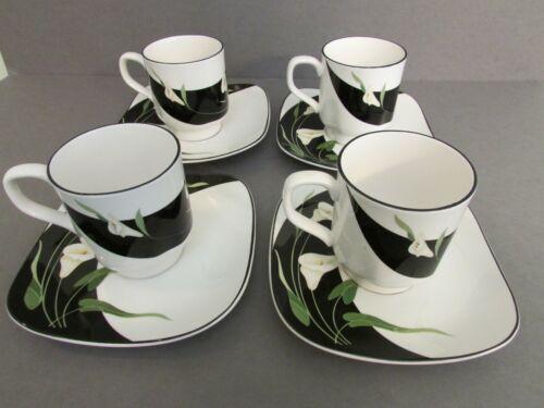4 Sets Sango 5101 Coffee/Teacup & Saucer 8oz Quadrille Black Lilies Square/Round