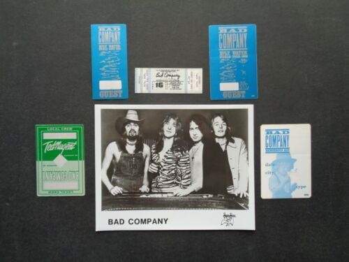 BAD COMPANY,8x10 B/W Promo Photo,4 Original OTTO Backstage passes,1977 Ticket