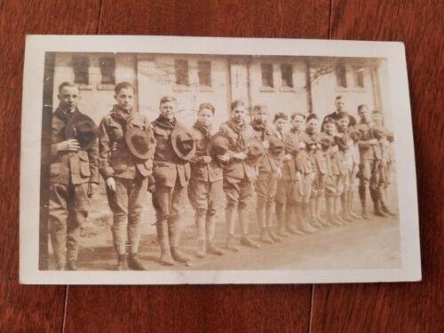 1918 Akron Ohio Boy Scout Troop Real Photo Postcard RPPC