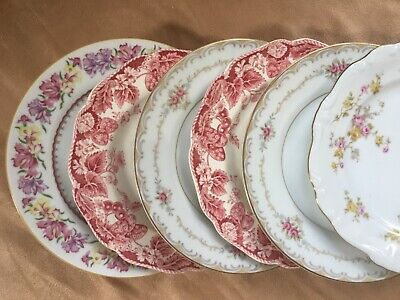 6 Vtg Mismatched China Dessert Cake Bread Plates  - Mixed Bavaria Johnson Shower
