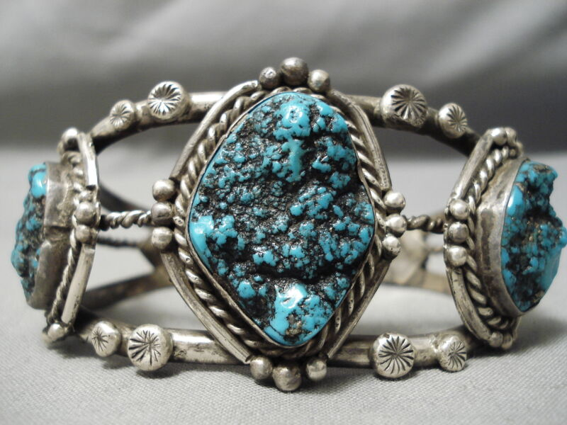 CHARACTER!! QUALITY VINTAGE NAVAJO SPIDERWEB TURQUOISE STERLING SILVER BRACELET